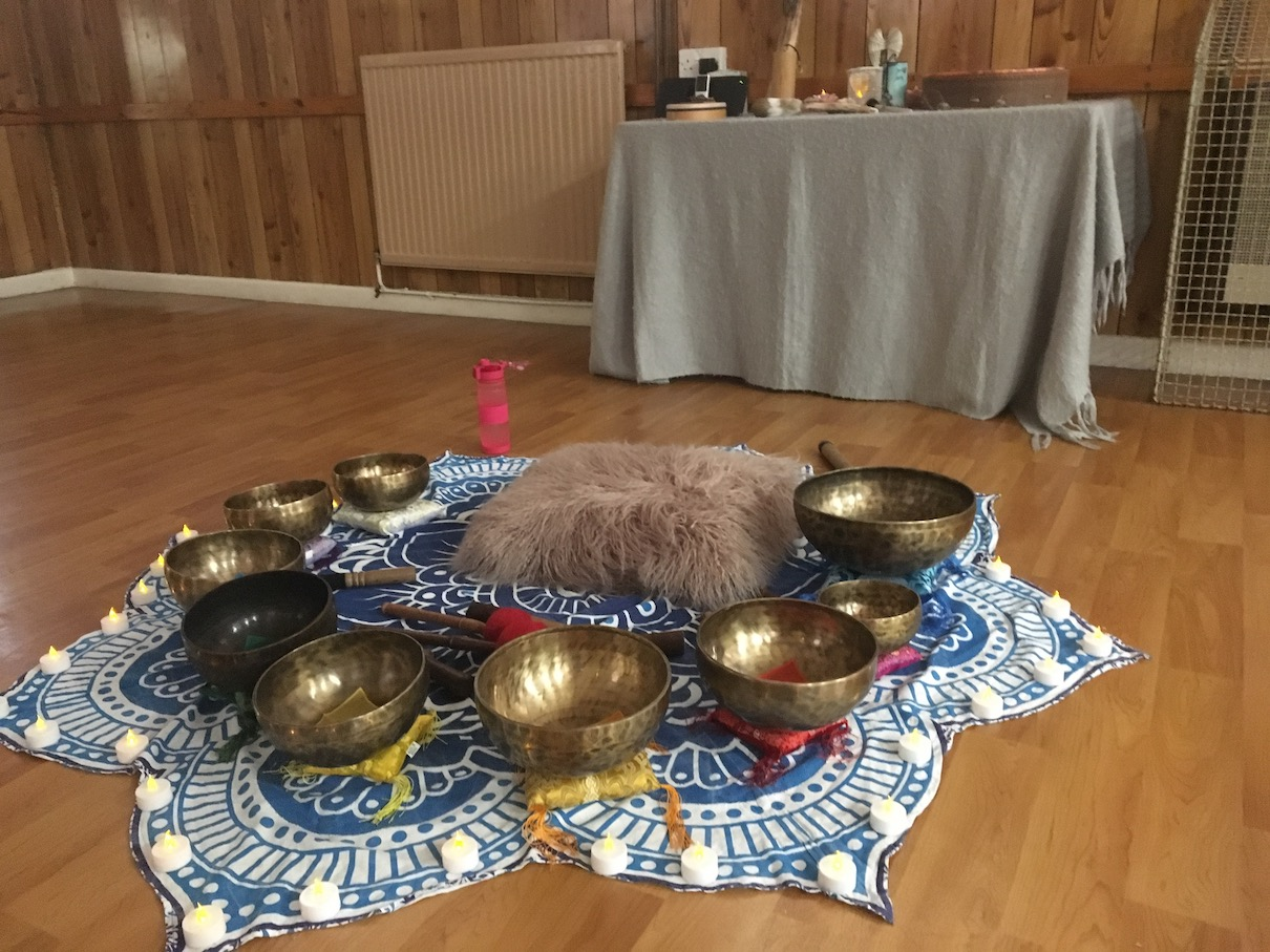 Instruments ready for sound bath experience